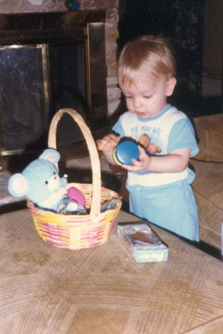 John with his Easter basket in the early 80s
