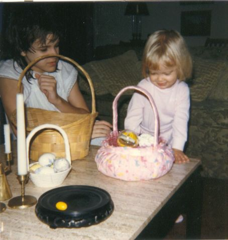 my older sister and me with our Easter baskets (also in the mid 80s)